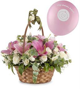 Hoş Geldin Kız Bebek Çiçek Sepeti