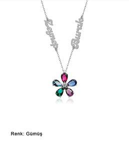 İsimli Kişiye Özel Renkli Taş Çiçek Gümüş Kolye