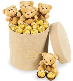 Kadife Bej Kutuda Çikolata ve Ayıcıklar Hediyesi