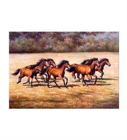 Kahverengi Koşan Atlar Kanvas Tablo 60x90cm