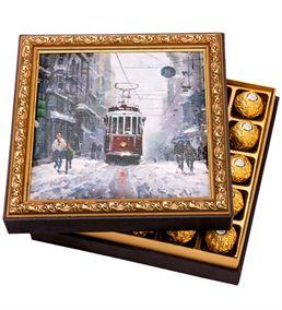 Karlı Tramvay Çerçeveli Çikolata Kutusu