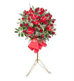 Kırmızı Antoryum Ferforje Çiçek Aranjmanı