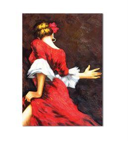 Kırmızı Elbiseli Dansçı Kadın Kanvas Tablo 50x70cm