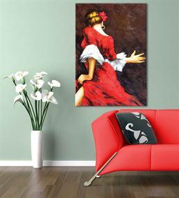 Kırmızı Elbiseli Dansçı Kadın Kanvas Tablo 60x90cm