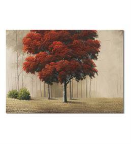 Kırmızı Sonbahar Yaprakları Kanvas Tablo 60x90 cm