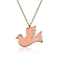 Kişiye Özel İsimli Uçan Kuş Plaka Gümüş Kolye