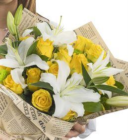 Kokulu Sarı Beyaz Çiçek Buketi
