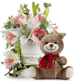 Kutuda Sevimli Ayıcık ve Kokulu Çiçekler