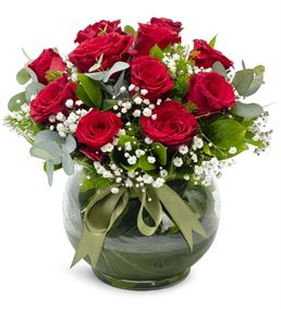 Love Bug Akvaryum Vazoda 11 Kırmızı Güller