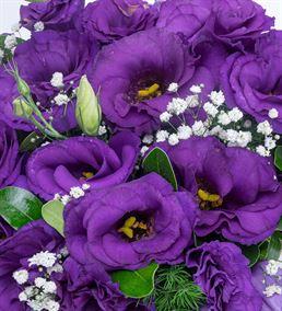 Mor Güzeli Lisyantus Çiçek Sepeti Aranjmanı