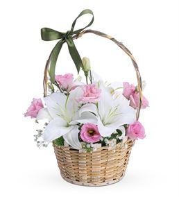 Mutlu Kalpler Kokulu Lilyum Lisyantus Çiçek Sepeti