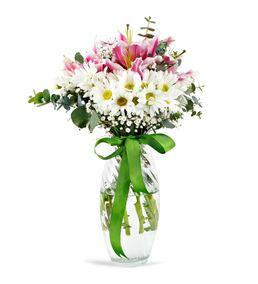 Pembe Sevgi Papatyalı Çiçek Aranjmanı