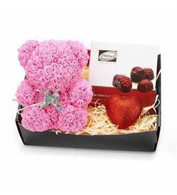 Pembe Teddy Bear Çikolatalı Hediye Kutusu