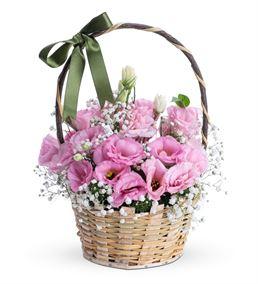 Peri Masalı Pembe Lisyantus Çiçek Sepeti Aranjmanı