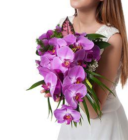 Renk Güzeli Mor Orkide Gelin Buketi Çiçeği