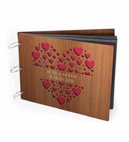Romantik Kişiye Özel Kalp Tasarımlı Ahşap Albüm