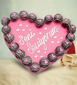 Seni seviyorum kurabiye buketi
