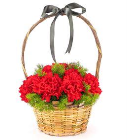 Çiçek Sepeti Kırmızı Karanfil Tasarım Aranjmanı