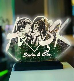Sevgililer Gününe Özel Fotoğraflı Aşk Gece Lambası