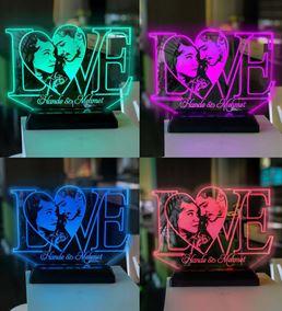 Sevgililer Gününe Özel Resimli LOVE Gece Lambası