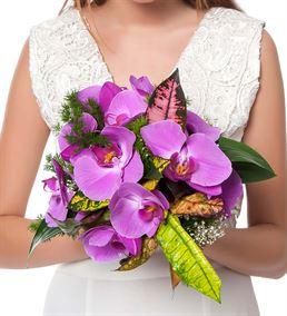 Soft Renkler Mor Orkide Gelin Buketi Çiçeği