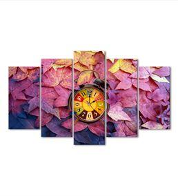 Sonbahar Yaprakları 5 Parça Saat'li Kanvas Tablo