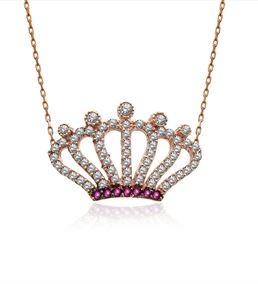 Taşlı Kraliçe Tacı Gümüş Kolye