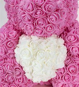 Teddy Bear Rose Beyaz Kalpli Solmayan Gül (40cm)