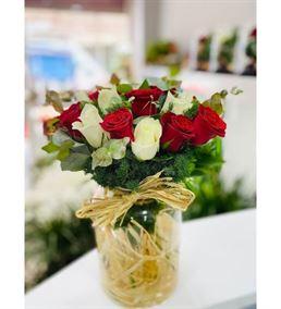 Vazoda Kırmızı Beyaz Güller