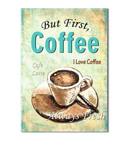 Vintage Coffee Latte 20x30 cm Kanvas Tablo