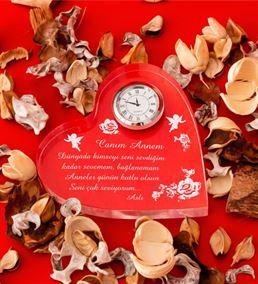 Anneler Günü Hediyesi Saatli Kalp Ödülü
