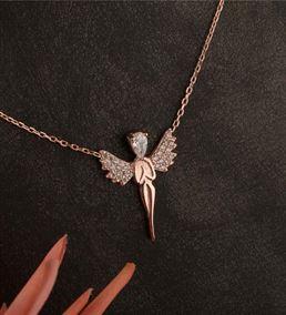 Anneye Hediye Melek Tasarımlı Rose Kaplama  Gümüş