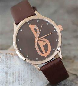 Kahverengi Deri Kordonlu Şık Kadın Hediye Saat BS1