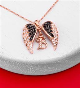 Kalpteki Sır Harfli Melek Kanadı Gümüş Kolye