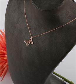 Kelebek Tasarımlı Zirkon Taşlı Rose Kaplama Gümüş
