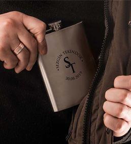 Kişiye Özel İsim Logolu Paslanmaz 8 Oz Çelik Matar