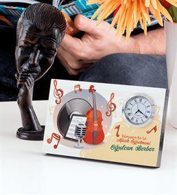 Müzik Öğretmenine Hediye İsme Özel Saatli Çerçeve