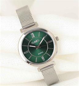 Silver Renk Hasır Kordonlu Yuvarlak Metal Yeşil İç