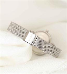 Silver Renk Hasır Kordonlu Yuvarlak Metal Saat