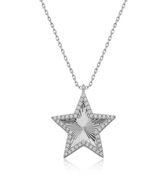 925 Ayar Gümüş Fırfır Desenli Yıldız Bayan Kolye