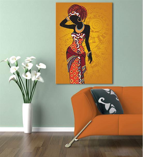Afrikalı Kadın Kanvas Tablo 35x50cm