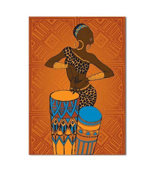 Afrikalı Kadın Müzisyen Kanvas Tablo 35x50cm