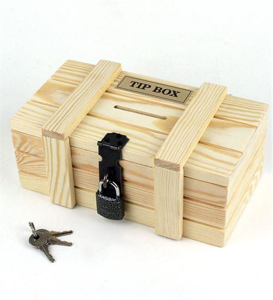 Ahşap Kilitli Kumbara Tip Box Bahşiş Kutusu