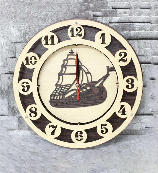 Ahşap Özel Tasarım Yelkenli Saat