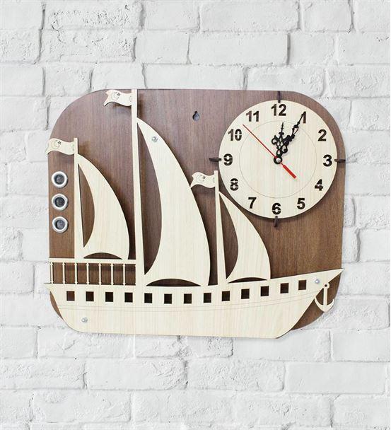 Ahşap Tasarım Gemi Duvar Saati
