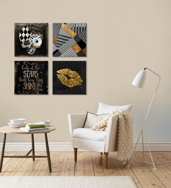 Altın Renkli Modern Siyah 4'lü Kombin Mdf Tablo