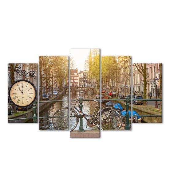 Amsterdam Temalı 5 Parça Saat'li Kanvas Tablo