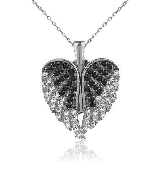 Aşkın Kanatları İsimli Beyaz Gümüş Kolye