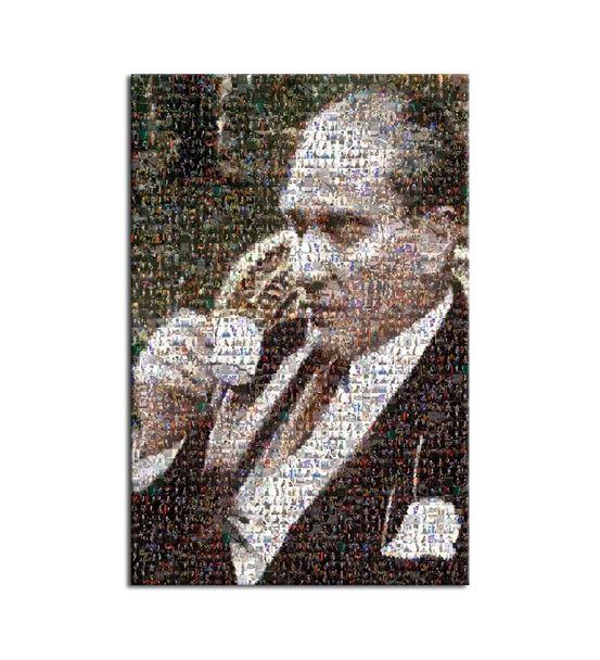 Atatürk Kahve İçerken Mozaik Kanvas Tablo 60x90cm