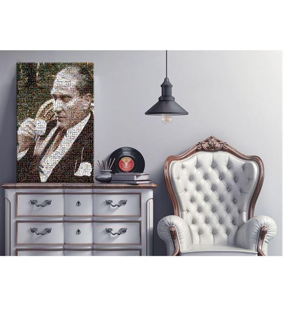 Atatürk Kahve İçerken Mozaik Kanvas Tablo 75x100cm
